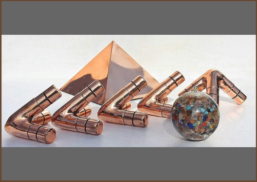 Handmade Copper Giza Meditation Pyramid - M Type 1 Inch (Connectors Only)