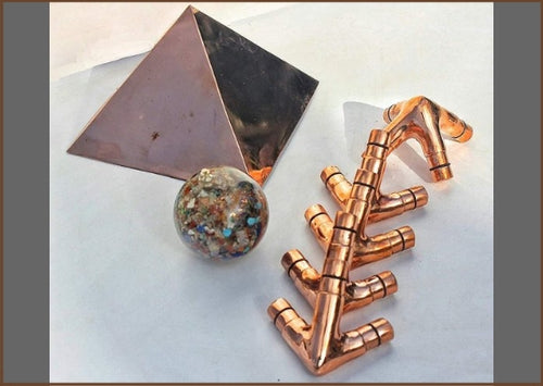 Handmade Copper Giza Meditation Pyramid - L Type 3/4 Inch (Connectors Only)