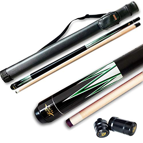 """58/"""" Hardwood Pool Cue Billiard Stick 19 Ounce 2 Piece with Carrying case"""