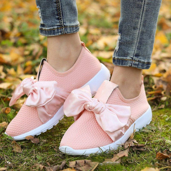 Oberen Satin-Bow-Sneakers gepolsterte Innensohle Slip-on-Sneakers