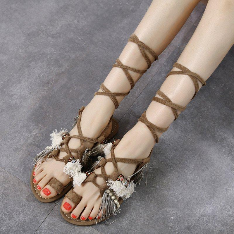 Womens Summer Daily Lace Up Flache Ferse Troddel-Sandalen