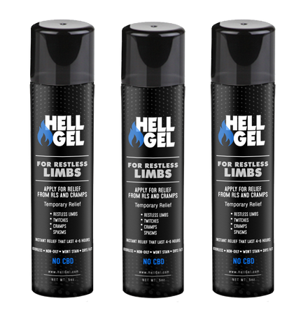 "3 Large Bottles (5oz) Hell Gel - ""Restless Limb and Cramp Relief in 2 Minutes or Less, Guaranteed!"""
