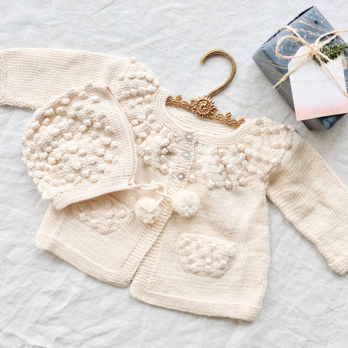 Bobble Cardigan and Bonnet Set