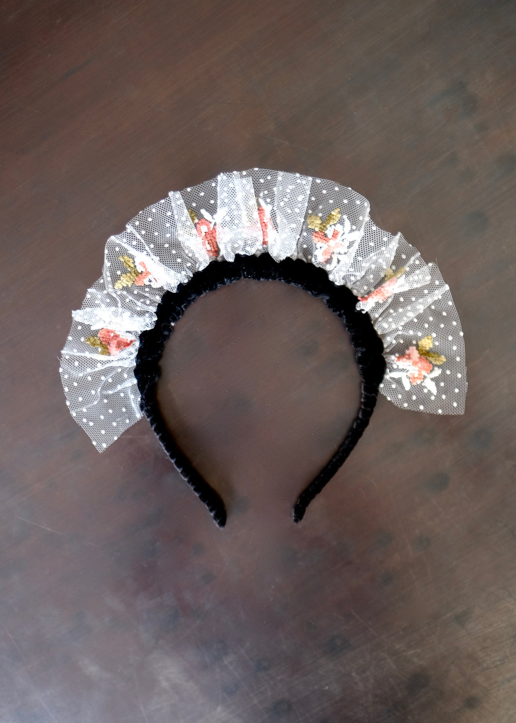 French Broderie Floral Headband