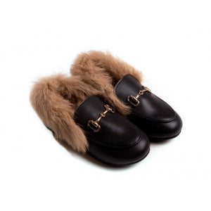 Fur Leather Mules
