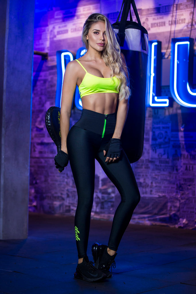 Neon Green Zipper Leggings