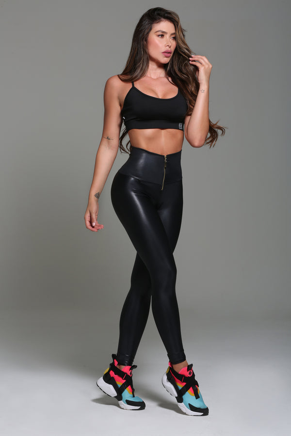 Faux Leather Leggings Gold zipper