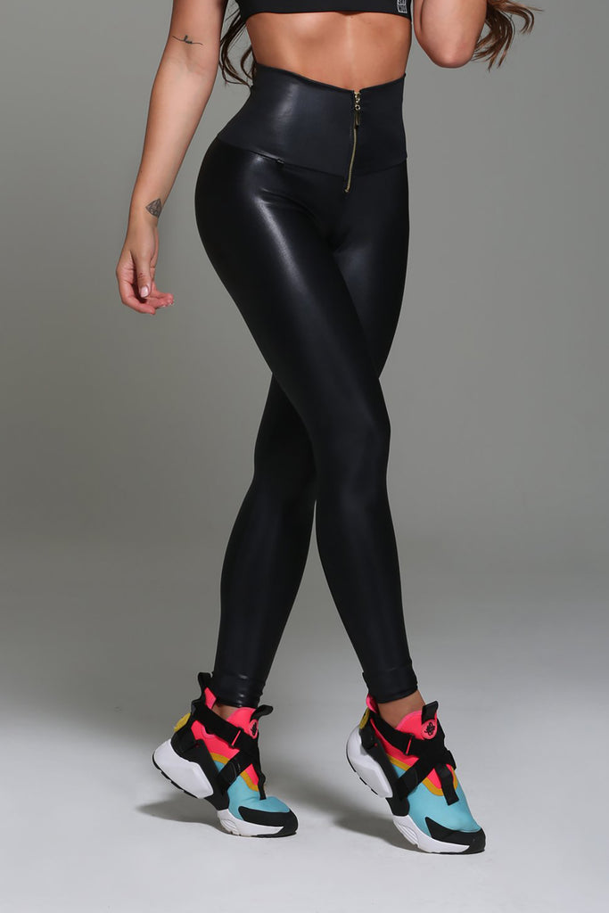 Faux Leather Leggings Gold Zippers