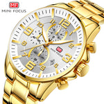 Men Watches Stainless Steel Gold Fashion Quartz Watch Waterproof IPX7 3Bar