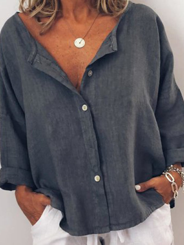 Casual Solid V Neck  Long Sleeve Buttoned Blouse