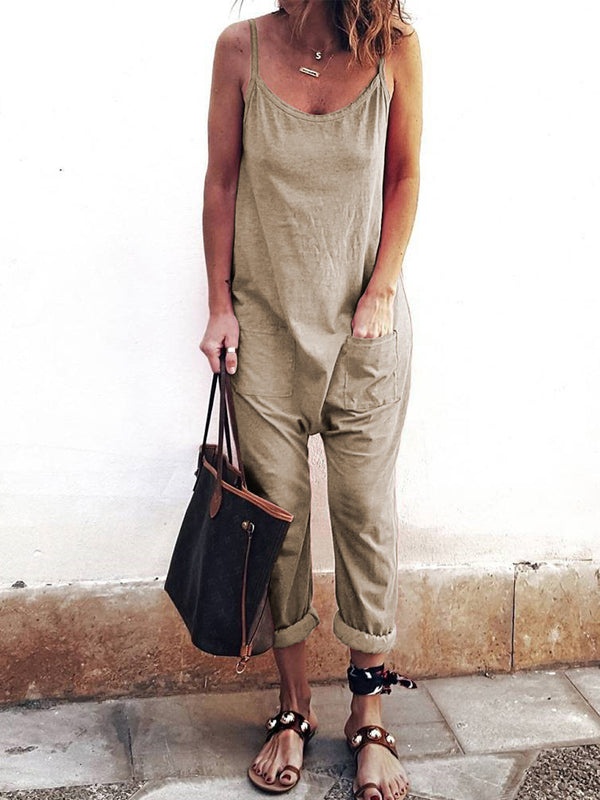 Women  Sleeveless Solid  Casual Loose Strap Jumpsuit