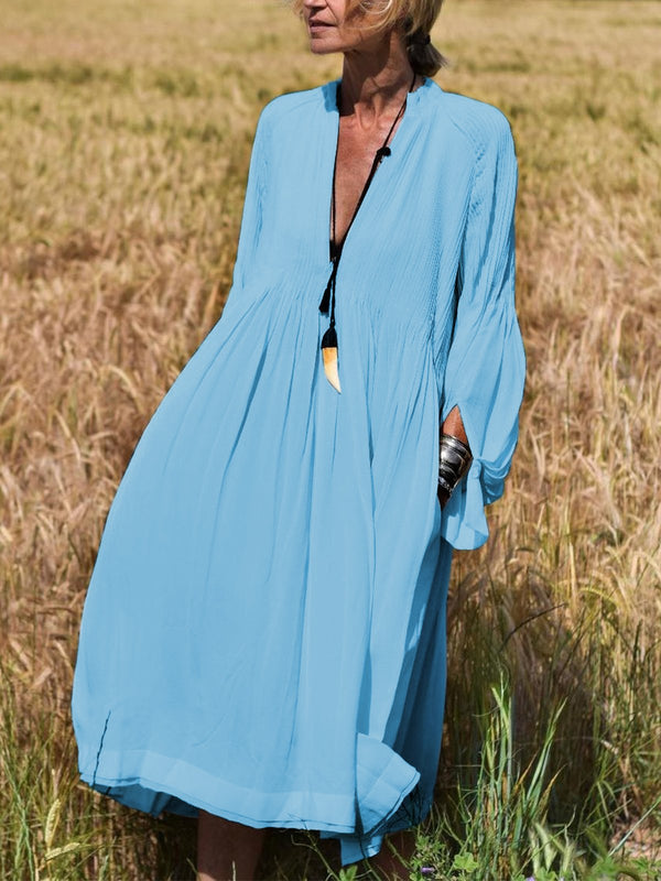 Solid Long Sleeves V-Neck Elegant Vacation Dresses