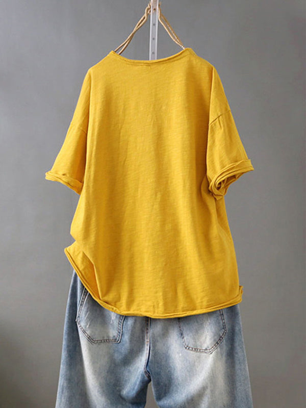 Women Casual Loose Embroidery Tops Tunic T Shirt