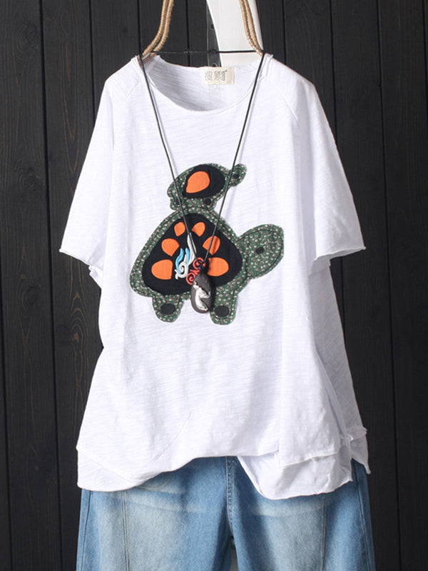 Women Casual Embroidery Patchwork Tops Tunic T Shirt