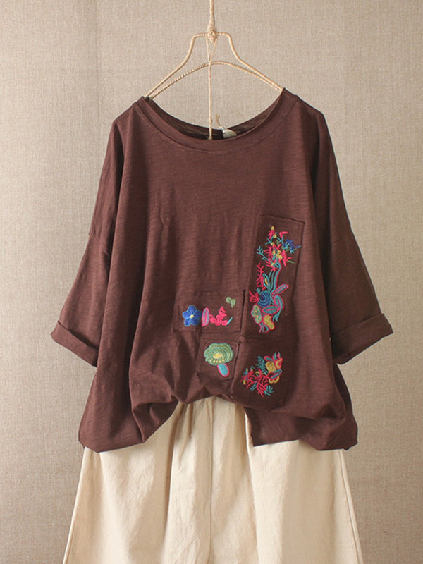 Women Casual Loose Embroidery Tops Tunic Blouse Shirt