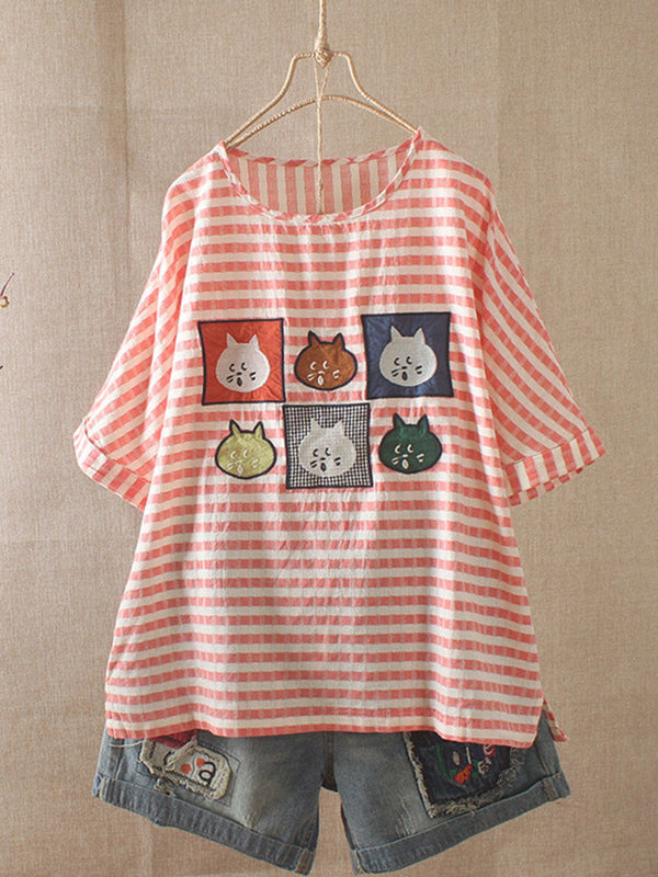 Women Embroidery Cat Striped Casual Loose Tops Tunic T Shirt