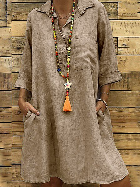 Gray Casual Solid Cotton Buttoned Summer Dresses