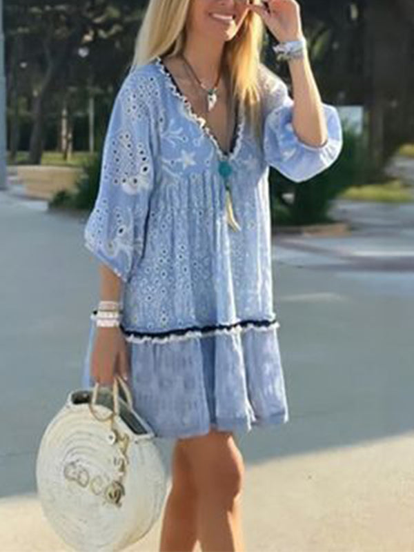 Blue Shift V Neck Ruffled Casual Dresses