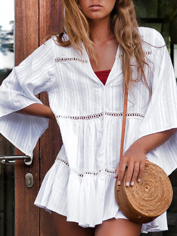 White Cotton-Blend Buttoned Half Sleeve Dresses