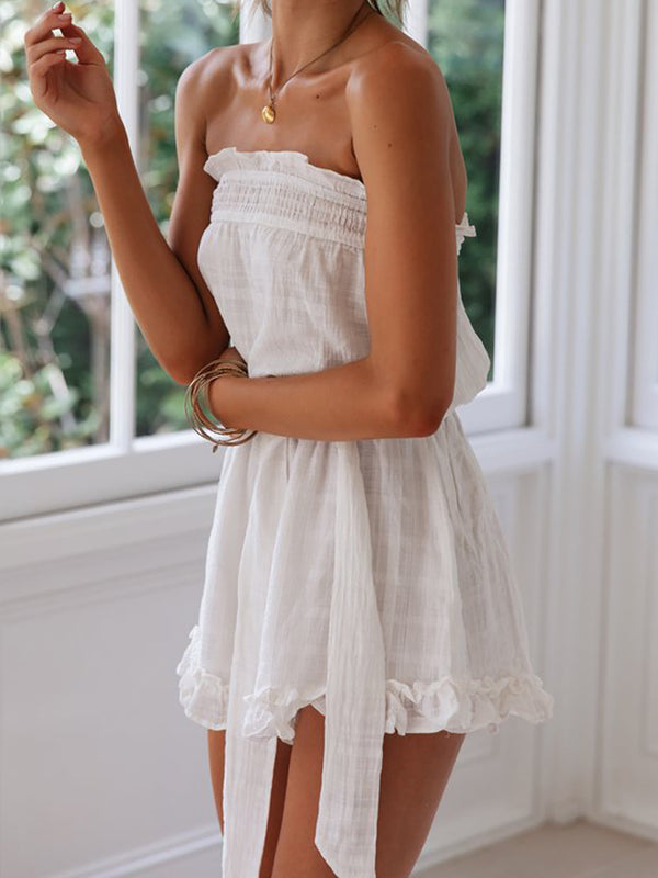 Ruffled Holiday Playsuit Solid Short Jumpsuit