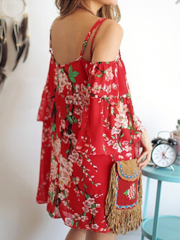 Cold Shoulder Women Red Boho 3/4 Sleeve Printed Floral Dress