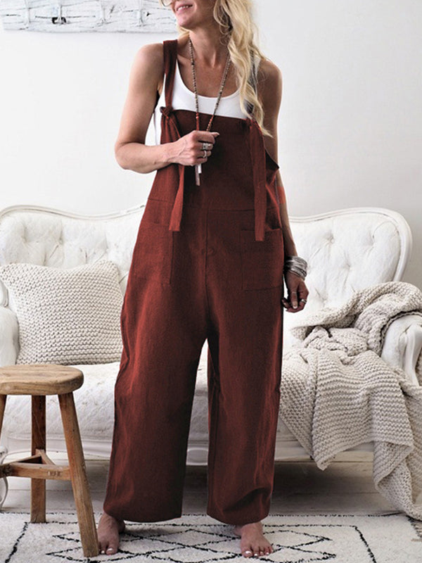 Solid Patch Pocket Jumpsuits