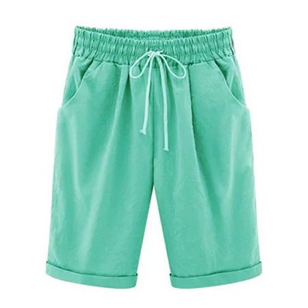 Solid Shirred Linen Shorts