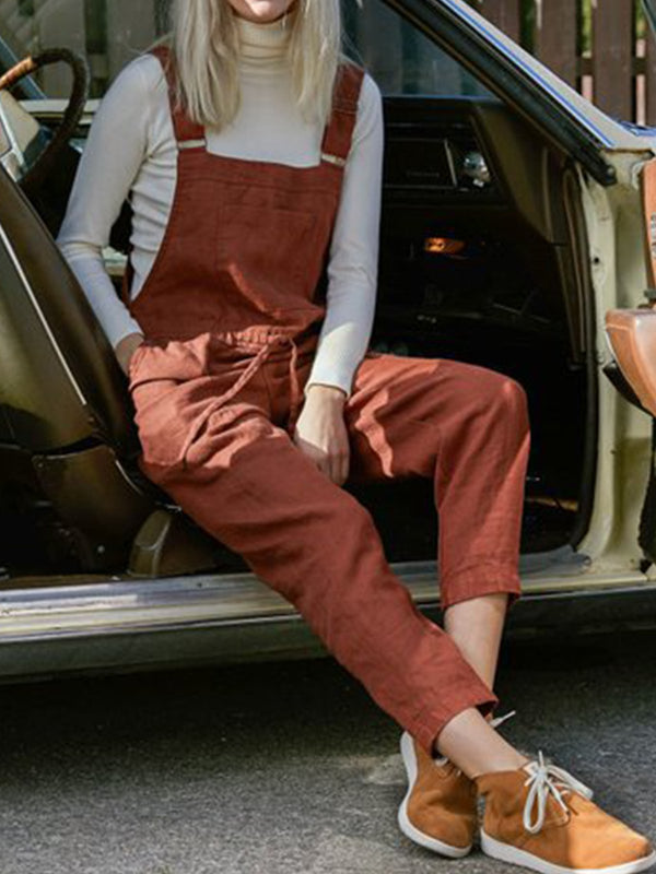 Cotton and Linen Bib Loose Fit Pants
