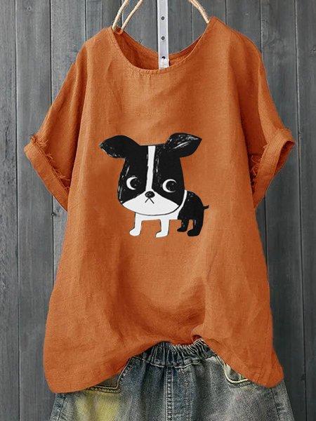 Cute Dog Printed Short Sleeve Tee Shirts