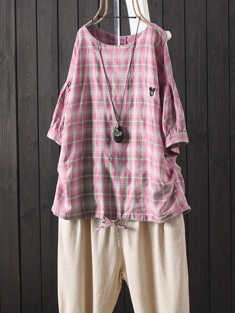 Button Back Plaid Short Sleeve Casual Blouse