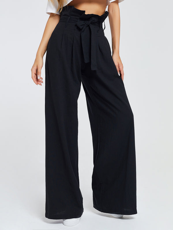 Fashion Plus Size Simple Basic Ruffled Solid Pants With Pockets