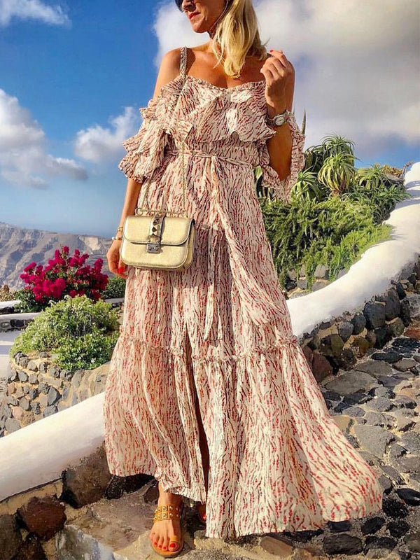 Women  Off Shoulder Floral Half Sleeve Temperament Sling Long Dress