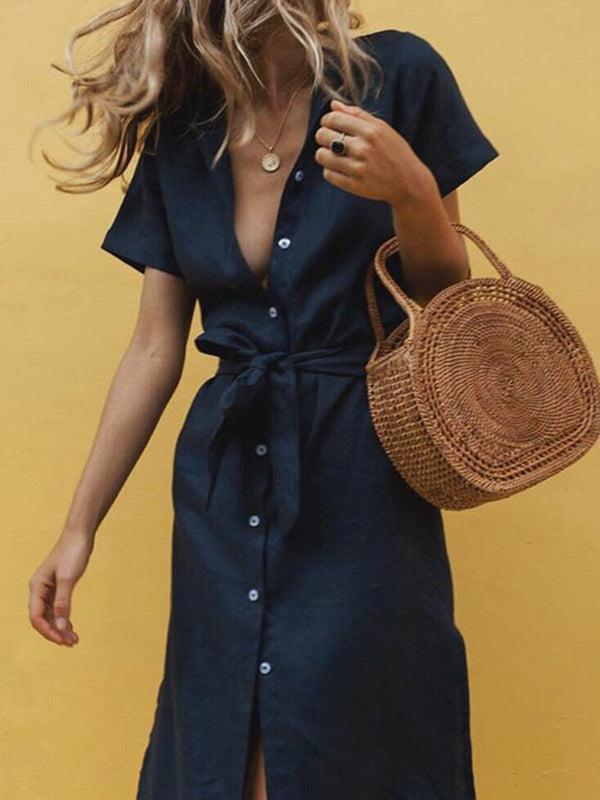 Shirt Collar Women Dresses Shift Daily Casual Cotton Dresses