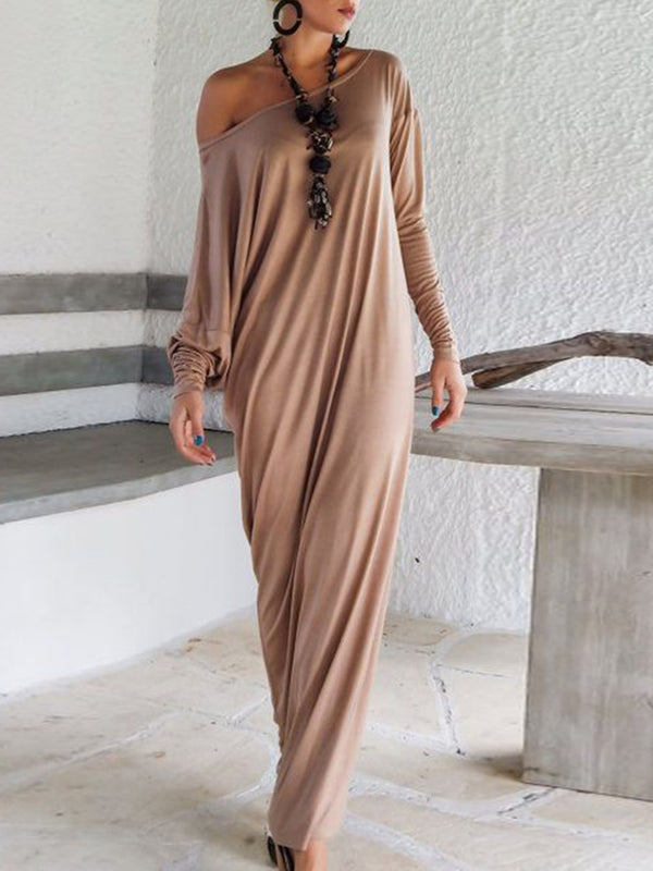 Sheath Women Party Batwing Slit Solid Summer Dress