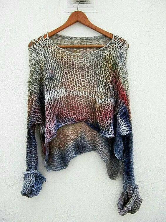 Multicolor Round Neck Knitted Casual Shirts & Tops