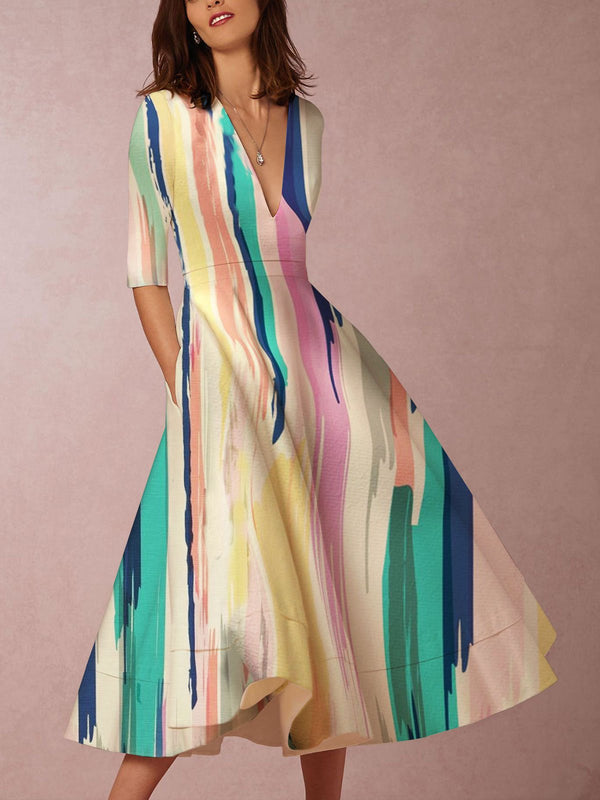 Multicolor Elegant V Neck Abstract Color-Block Skater Dresses