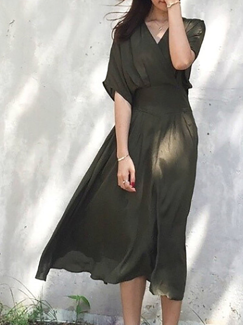 V neck Swing Half Sleeve Casual Green Midi Dress