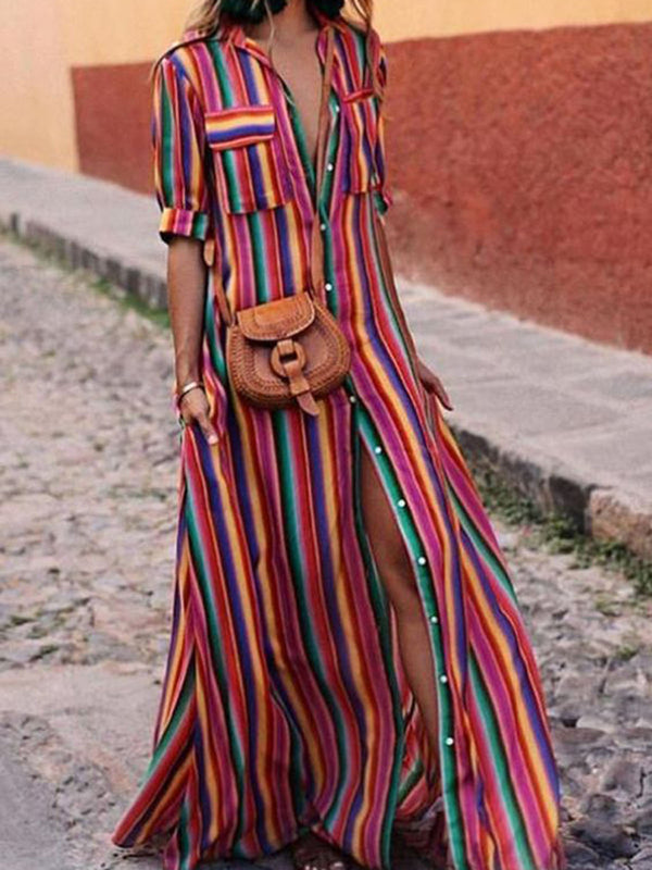 Women Multicolor Ombre Stripes Printed Half Sleeve Shirt Collar Maxi Dress