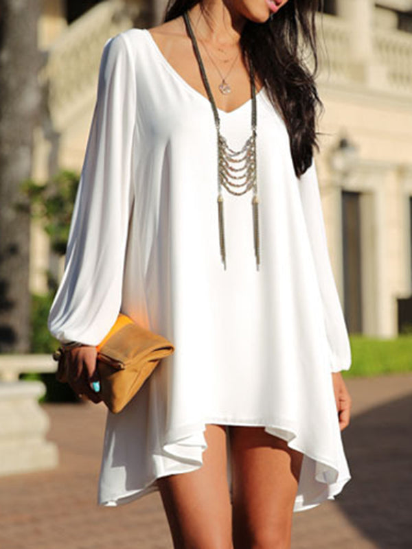 V neck Women White Going out Casual Long Sleeve Cutout Solid Dress