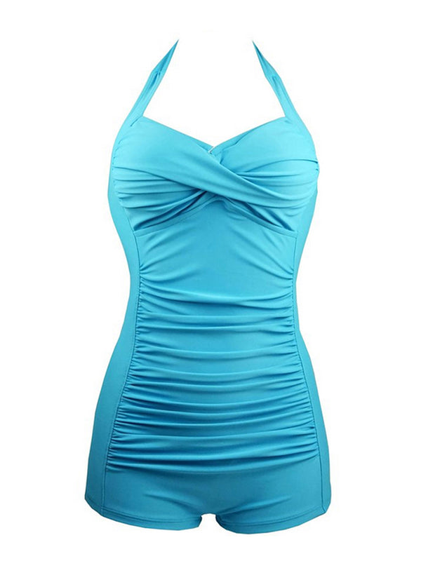 Blue Padded Ruched Halter One-Piece