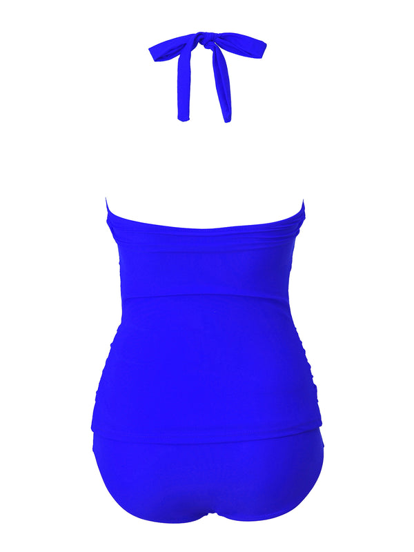 Blue Ruched Padded One-Piece