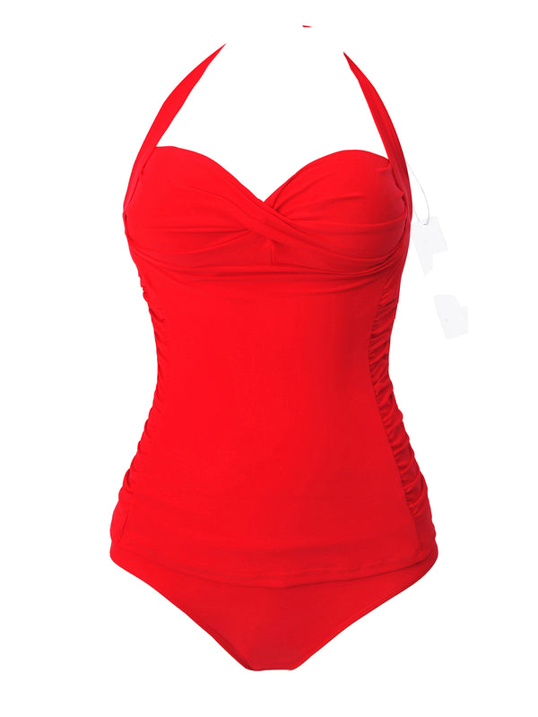Red Ruched Padded One-Piece
