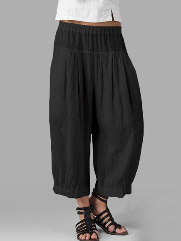 Pleated Solid Pants
