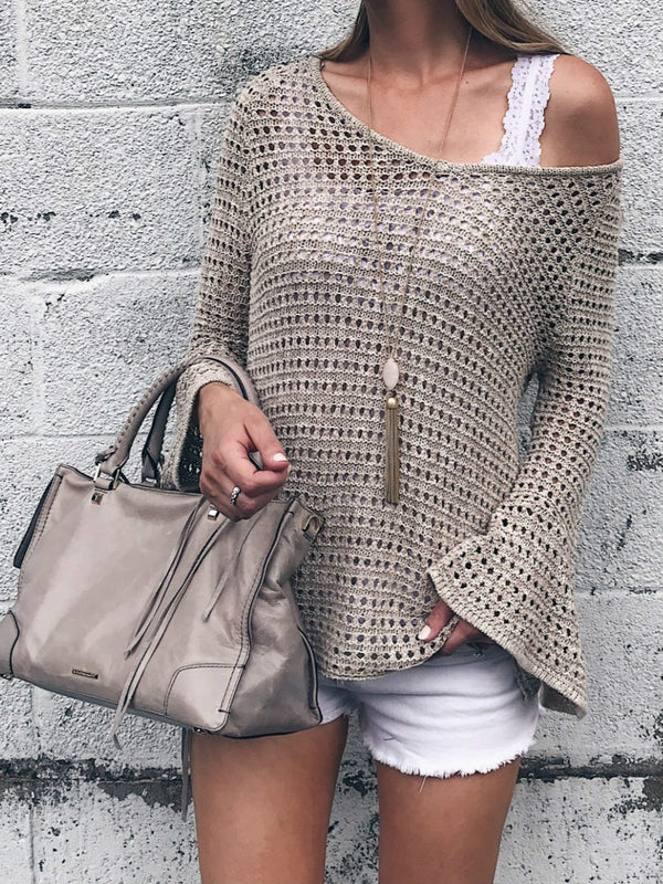 Gray Long Sleeve Solid Knitted Shirts & Tops