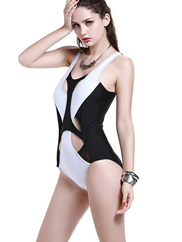 White Nylon Cut-outs One-Piece