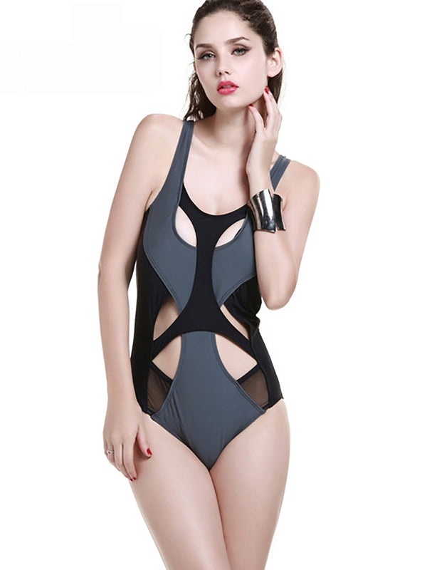 Gray Straped Cut-outs One-Piece