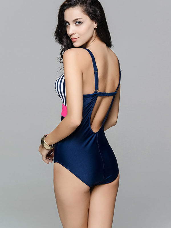 Pink Stripes Color-block Nylon One-Piece