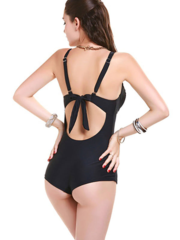 Black Straped Nylon Ruched Plain One-Piece