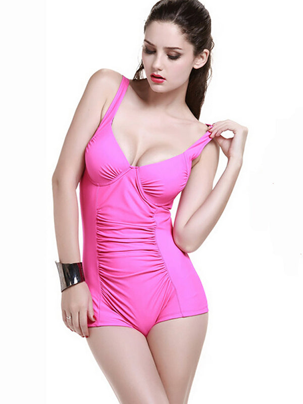 Pink Ruched Plain One-Pieces