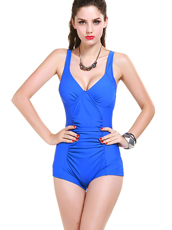 Royal Blue Nylon Ruched Plain One-Pieces